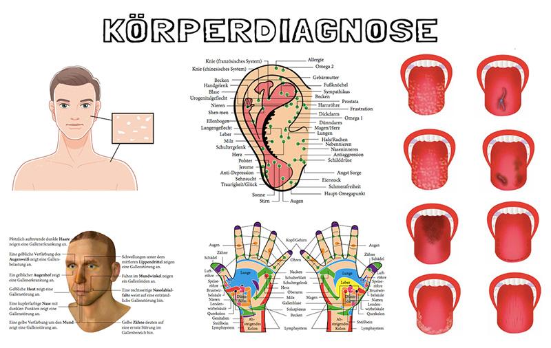 Antlitzdiagnostik, Zungendiagnostik, Handdiagnostik, Ohrreflexzonendiagnostil und Hautdiagnostik sind einige er Formen der Körperdiagnostik.