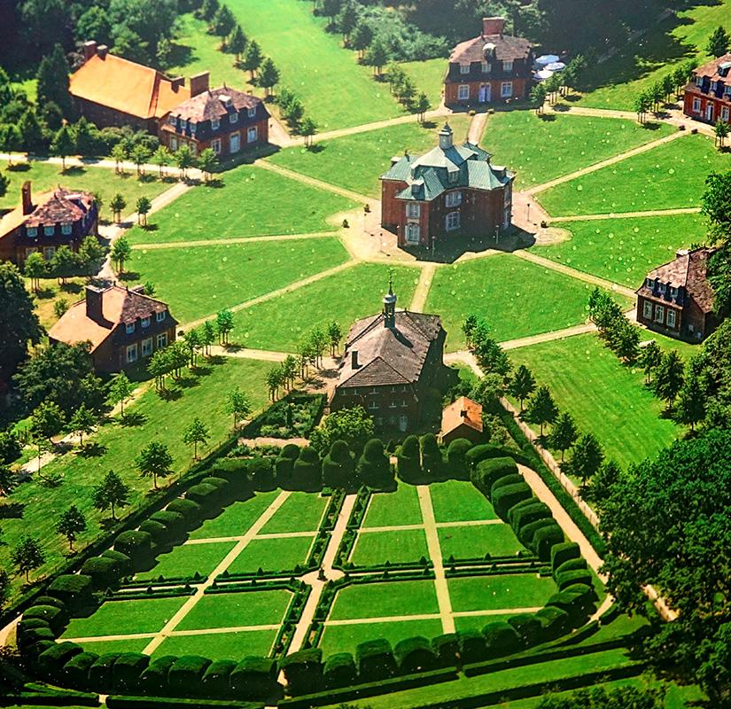 Der barocke Schlossgarten aus der Vogelperspektive