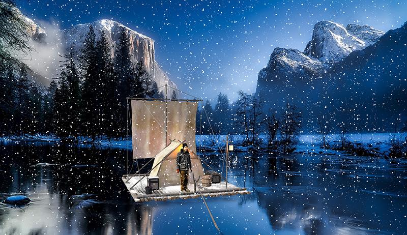 Flossbau Heiko Gärtner mit Schnee