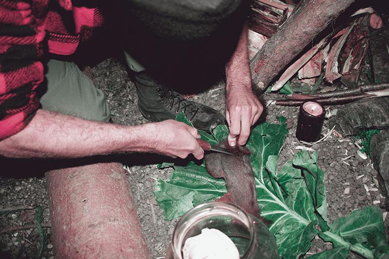 Auch die Zubereitung von Wildnahrung erlernt man nach dem Try-and-Error-Prinzip.