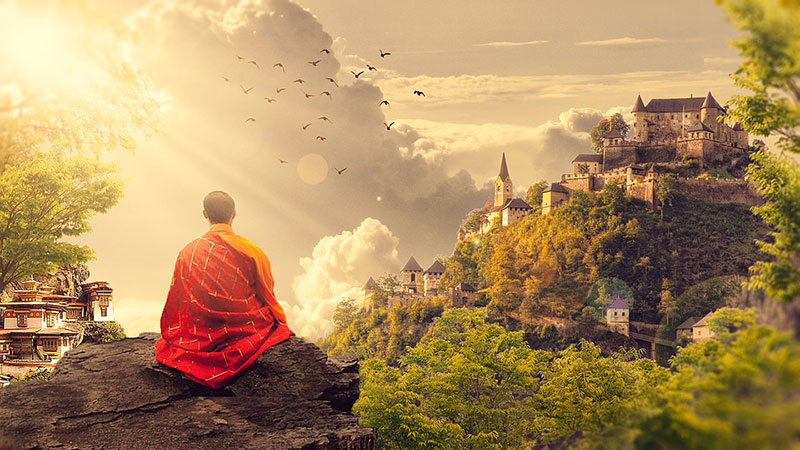 Ein Sitzplatz in der Natur hilft beim Beruhigen des Geistes